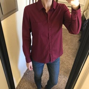 Burgundy button down, size small